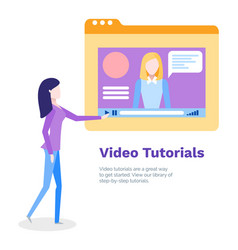 Video tutorials for student studying online poster vector