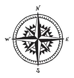 Vintage hand drawn wind rose compass symbol vector