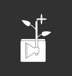 White icon on black background axe with buds vector