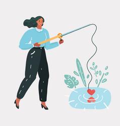 woman girl with a fishing rod looking for love vector image