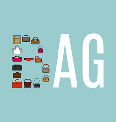 word bag with bags icons vector image