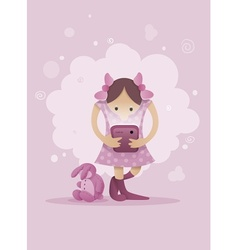 Girl playing with smartphone vector image vector image