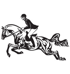 horse show jumping tribal vector image