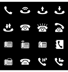 white telephone icon set vector image vector image