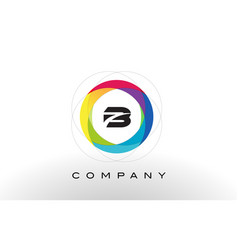 b letter logo with rainbow circle design vector image