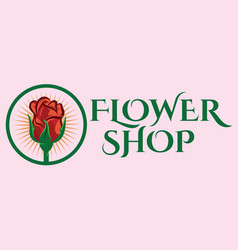 color template for flower shop with rose vector image