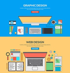 Flat design line concept 4 vector image vector image