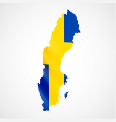 hanging sweden flag in form of map kingdom of vector image vector image