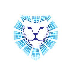 lion head technology logo vector image