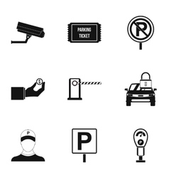 Parking transport icons set simple style vector