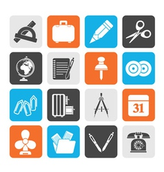 Silhouette Business and office objects icons vector image vector image