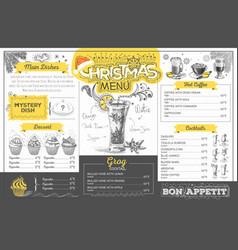 vintage holiday christmas menu design restaurant vector image vector image