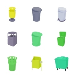 Waste rubbish icons set cartoon style vector image vector image