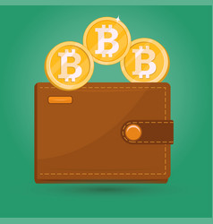 Bitcoin wallet digital crypto currency sign vector