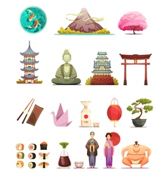 Japan Culture Retro Cartoon Icons Set vector image vector image