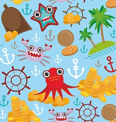 Marine seamless pirate pattern on light blue vector image