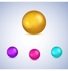 Set of colorful glossy spheres isolated on white vector image vector image