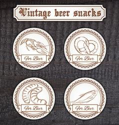 set snacks logo Contains crayfish pretzel sausage vector image