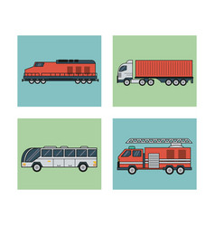 White background with square set of vehicles of vector