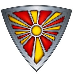 steel shield with flag republic of macedonia vector image