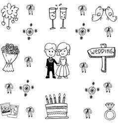 Wedding set party doodle vector