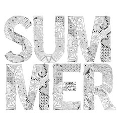 word summer for coloring decorative vector image vector image