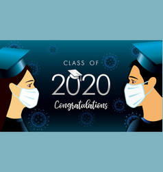 2020 graduates men women in medical mask vector