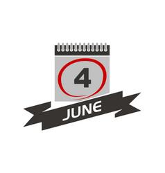 4 june calendar with ribbon vector