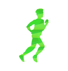 abstract silhouette icon running or jogging man vector image