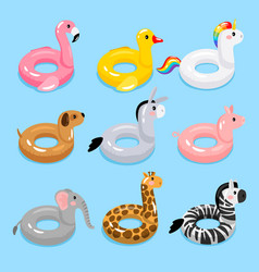 animals pool float rings vector image