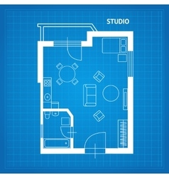 Apartment Floor Plan Studio Blueprint vector