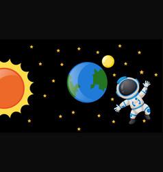 Astronaunt floating in the dark spack vector