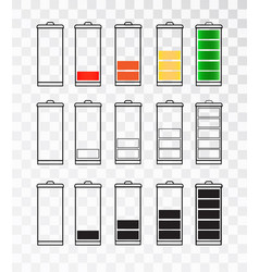 Battery indicator icon set isolated isolated on a vector