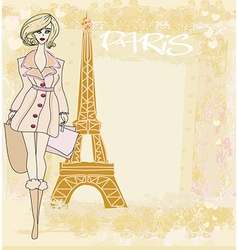 beautiful women Shopping in Paris vector image