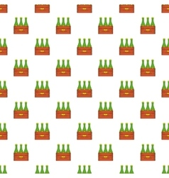 Beer bottles in wooden box pattern cartoon style vector image