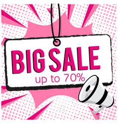big sale up to 70 speech megaphone pink backgroun vector image