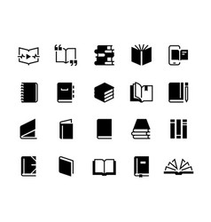 Black books icons study education book set vector