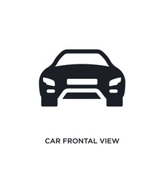 Black car frontal view isolated icon simple vector