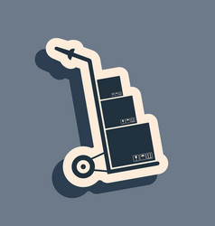 black hand truck and boxes icon isolated on grey vector image