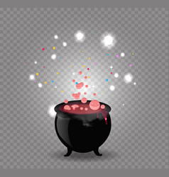 black witch cauldron with red sparkling potion vector image