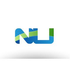 blue green nu n u alphabet letter logo vector image