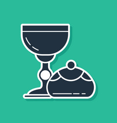 Blue jewish goblet and hanukkah sufganiyot icon vector