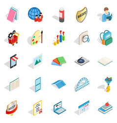 book art icons set isometric style vector image