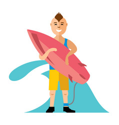 boy with surfing flat style colorful vector image