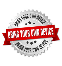 Bring your own device round isolated silver badge vector
