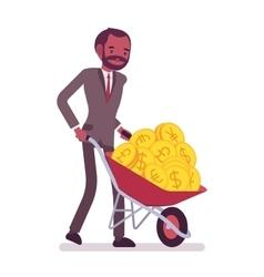 Businessman pushing a wheelbarrow full of golden vector image