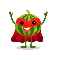 Cheerful cartoon character of watermelon superhero vector