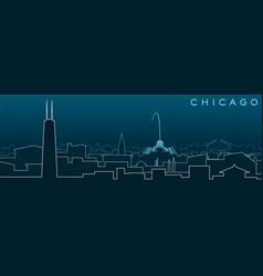 Chicago multiple lines skyline and landmarks vector