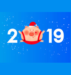 colored numbers 2019 with a fat pig and hearts vector image