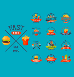 colorful cartoon fast food label logo isolated vector image